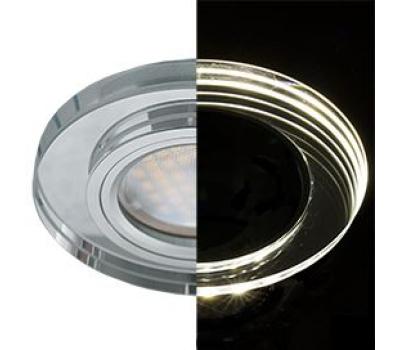 Ecola MR16 LD1650 GU5.3 Glass Стекло с подсветкой Круг Хром / Хром 25x95 (кd74) Истра