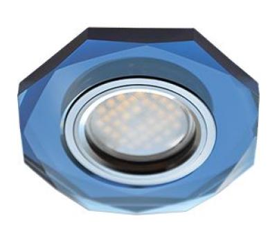 Ecola MR16 DL1652 GU5.3 Glass Стекло 8-угольник с прямыми гранями Голубой / Хром 25x90 Истра