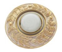 """Ecola накладка широкая гипсовая """"оливковый венок"""" для встр. свет-ка GX53 H4 золото на белом 23х195 Истра"""