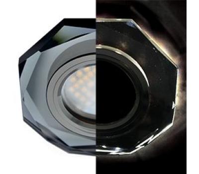 Ecola MR16 LD1652 GU5.3 Glass Стекло с подсветкой 8-угольник с прямыми гранями Черный / Черный хром 25x90 (кd74) Истра