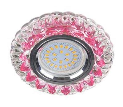 """Ecola MR16 LD7009 GU5.3 Светильник встр. искристый с подсветкой """"Кристалл"""" Прозрачный и Розовый / Хром 30x95 Истра"""