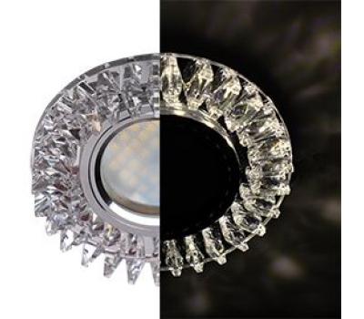 Ecola MR16 LD1661 GU5.3 Glass Стекло Круг с прозрачными стразами Гребенка с подсветкой/фон зерк./центр.часть хром 42x95 Истра