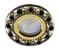 Ecola MR16 DL1660 GU5.3 Glass Стекло Круг с  прозр.и янтарн. стразами Корона (оправа золото)/фон зерк./центр.часть золото 28x93 Истра