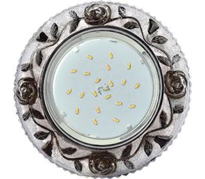 """Ecola GX53 H4 LD7071 Светильник встр. искристый с подсветкой """"Розы"""" Прозрачный и Черный / Хром 35x125 (к+) Истра"""