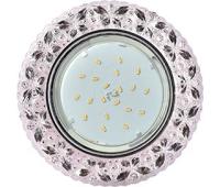 """Ecola GX53 H4 LD7040 Светильник встр. искристый с подсветкой """"Бабочки"""" Светло-розовый / Хром 35x125 (к+) Истра"""