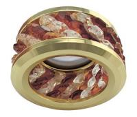 Ecola MR16 DL1655 GU5.3 встр. круглый с хруст.(3 ряда) и ободком - Прозрачный и Янтарь/ Золото 63x85 Истра