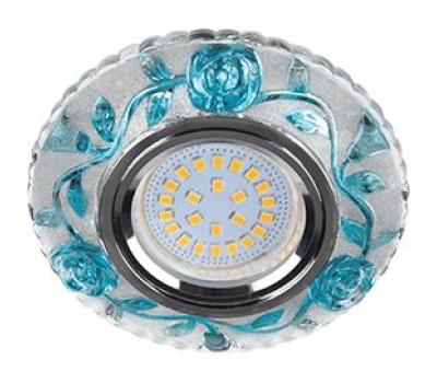 """Ecola MR16 LD7071 GU5.3 Светильник встр. искристый с подсветкой """"Розы"""" Прозрачный и Голубой / Хром 25x95 Истра"""