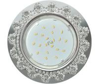 Ecola GX53 H4 Glass Круг с прозрачными  стразами Корона (оправа хром)/фон зерк/центр хром  52x120 Истра