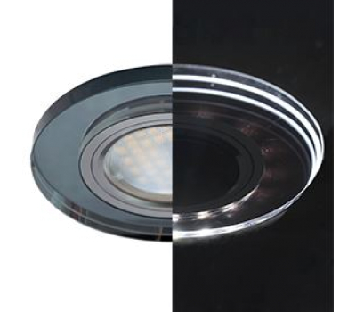 Ecola MR16 LD1650 GU5.3 Glass Стекло с подсветкой Круг Черный / Черный хром 25x95 (кd74) Истра