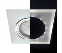 Ecola MR16 LD1651 GU5.3 Glass Стекло с подсветкой Квадрат скошенный край Матовый / Хром 25x90x90 (кd74) Истра