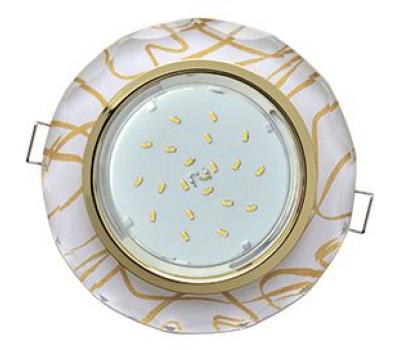 Ecola GX53 H4 Glass Стекло Круг с вогнутыми гранями золото - золото на белом 38x126 Истра