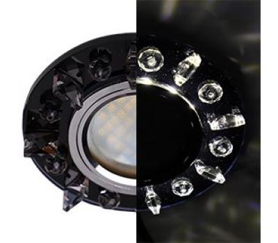 Ecola MR16 LD1661 GU5.3 Glass Стекло Круг с квадратными прозрачными стразами с подсветкой/фон черн./центр.часть хром 42x95 Истра