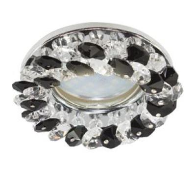 Светильник Ecola MR16 CD4141 GU5.3 встр. круглый с хрусталиками Прозрачный и Черный/Хром 50x90 Истра