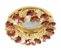 Ecola MR16 CD4141 GU5.3 Светильник встр. круглый с хрусталиками Прозрачный и Янтарь/Золото 50x90 Истра