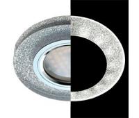 Ecola MR16 LD1650 GU5.3 Glass Стекло с подсветкой Круг Серебряный блеск / Хром 25x95 (кd74) Истра