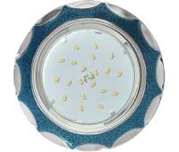 Ecola GX53 H4 DL3902 светильник встраив. без рефл.  Звезда под стеклом Голубой блеск / хром 106х38 (к+) Истра