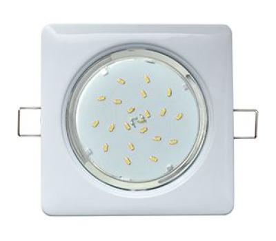 Ecola GX53 H4  Square светильник квадратный без рефл. Белый  107x41 Истра