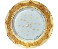Ecola GX53 H4 DL3902 светильник встраив. без рефл.  Звезда под стеклом Золотой блеск / золото 106х38 (к+) Истра