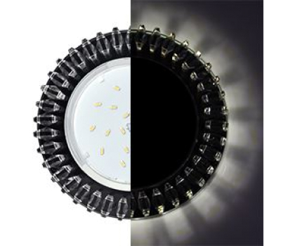 Ecola GX53 H4 LD5361 Glass Круг с прозр. стразами Гребенка с подсветкой/фон черн./центр.часть хром 52x120 (к+) Истра