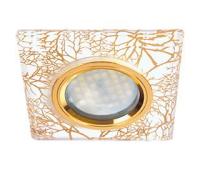 Ecola MR16 DL1651 GU5.3 Glass Стекло Квадрат скошенный край Золото на белом / Золото 25x90x90 (кd74) Истра
